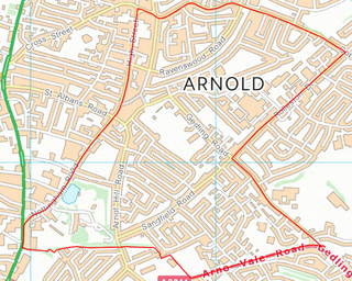 Ernehale Ward Boundary (Contains Ordnance Survey data (C) Crown Copyright & database rights May 2017 Nottinghamshire County Council)