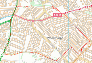 Woodthorpe Ward Boundary (Contains Ordnance Survey data (C) Crown Copyright & database rights May 2017 Nottinghamshire County Council)